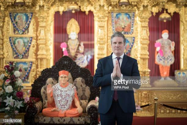 Labour Party leader Sir Keir Starmer, during a visit to Shree Swaminarayan Mandir Hindu Temple in Kingsbury on March 22, 2021 in London, England.