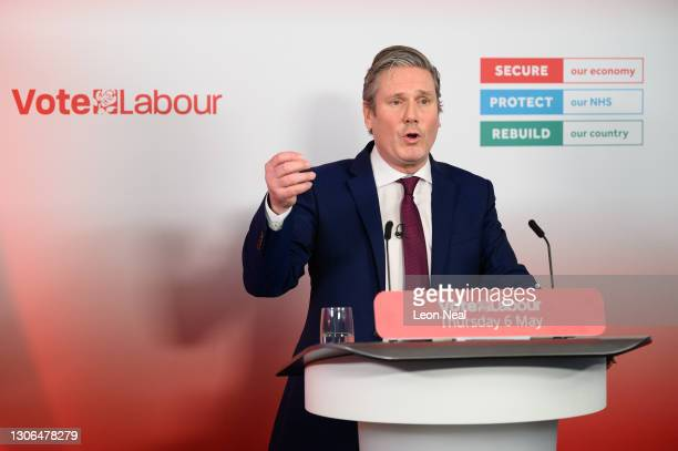 Labour Party Leader Sir Keir Starmer launches the party's local election campaign during a speech at the Labour Party headquarters on March 11, 2021...