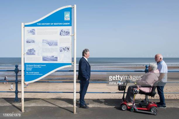 Labour Party leader Sir Keir Starmer meets local people in Seaton Carew in County Durham, during a day of campaigning for the Hartlepool by-election...