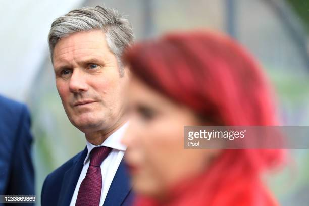 Labour Party leader Sir Keir Starmer talks to the media during a visit to Forge Integrated Primary School on July 8th, 2021 in Belfast, Northern...