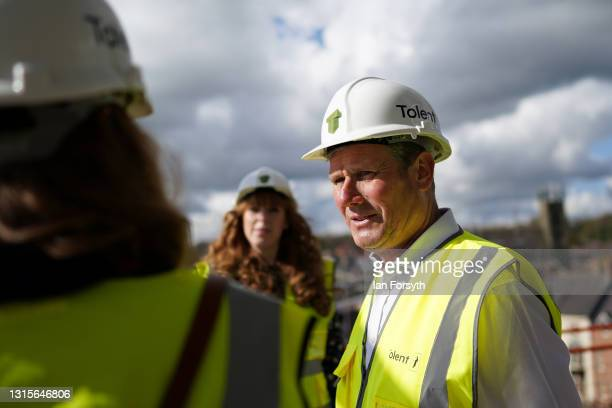 Labour Party leader Sir Keir Starmer visits a building development project on the banks of the River Wear on May 01, 2021 in Durham, United Kingdom....