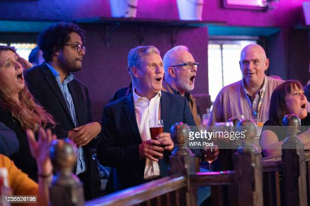 Labour Party leader Sir Keir Starmer watches the Premier League match between Arsenal and Tottenham Hotspur at The Font pub on September 26, 2021 in...