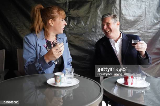 Labour Party leader Sir Kier Starmer and Deputy leader of the Labour Party Angela Rayner enjoy non-alcholic drinks during a visit to a temperance bar...