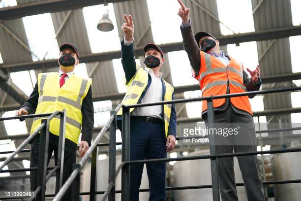 Labour Party leader Sir Kier Starmer and Dr Paul Williams, Labour candidate for Hartlepool are given a tour of the Cameron's Brewery in Hartlepool on...
