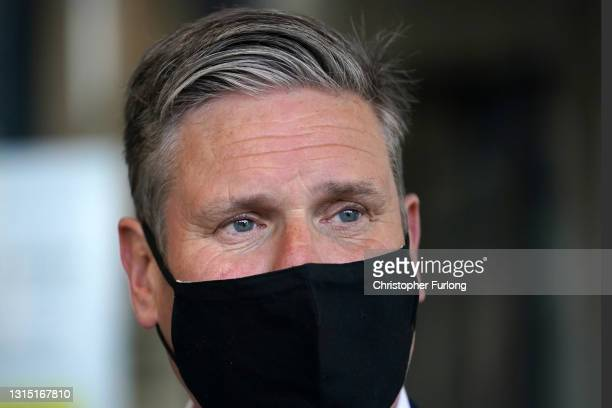 Labour Party leader Sir Kier Starmer campaigns in Manchester city centre on April 29, 2021 in Manchester, England.The Labour Leader is in the area to...
