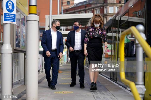 Labour Party leader Sir Kier Starmer campaigns with Deputy leader of the Labour Party Angela Rayner and Mayor of Greater Manchester Andy Burnham on...