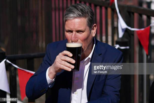 Labour Party leader Sir Kier Starmer visits the Cameron's brewery in Hartlepool on April 23, 2021 in Hartlepool, England. The visit comes as the...