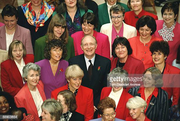 Labour Party Leader The Right Honourable Neil Kinnock MP photographed at the House of Commons with women Labour MPs