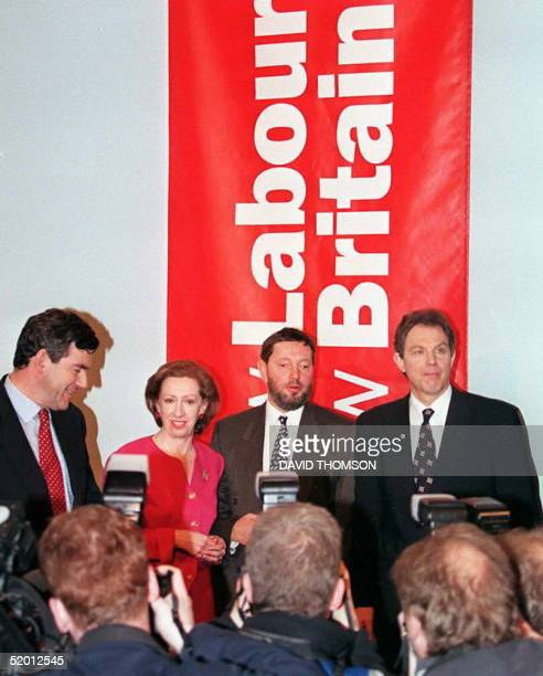 Labour Party leader Tony Blair and members of his shadow cabinet pose18 March at a news conference on the first day of the election campaign.
