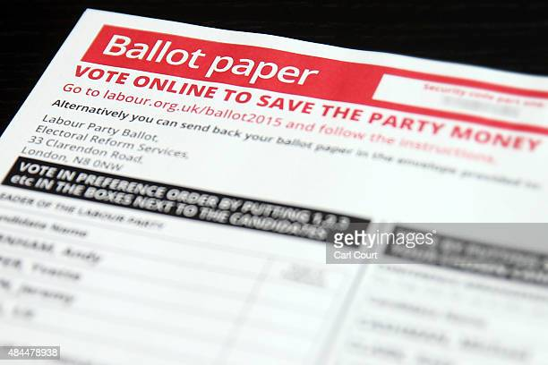 Labour Party leadership ballot paper is displayed on August 19 2015 in London England Labour Party members are due to vote in the Party leadership...