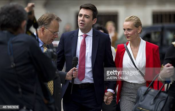 Labour Party leadership candidate Andy Burnham and his wife MarieFrance van Heel arrive to attend the ballot result for the new Labour leader in...