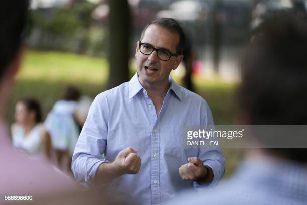 Labour Party leadership candidate Owen Smith gives a speech before meeting supporters during a picnic for young members in London Fields Hackney in...