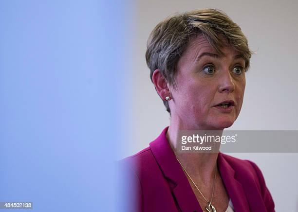 Labour party leadership candidate Yvette Cooper Labour Party MP for Normanton Pontefract and Castleford speaks during a Women's event on August 19...