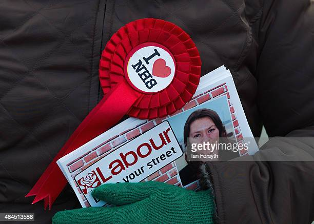 Labour Party member holds leaflets as she campaigns on behalf of Anna Turley the Labour Party candidate for Redcar and Cleveland on February 26 2015...