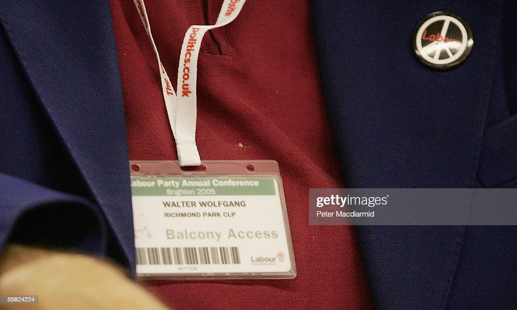Labour Party member Walter Wolfgang, 82, displays his security pass and Campaign for Nuclear Disarmament (CND) badge as he returns to the Labour Party conference after being ejected for heckling during the previous day's speech by Foreign Secretary Jack Straw on September 29, 2005 in Brighton, England. The governing Labour Party is holding its yearly conference at the English coastal resort until 29 September, 2005.