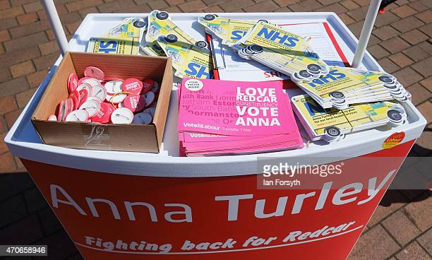 Labour party merchandise and flyers are seen on a display stand ahead of a visit by David Blunkett veteran Labour politician and former Home...