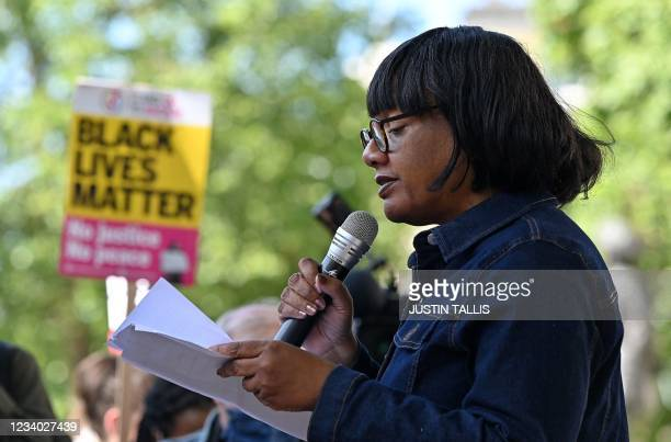 Labour Party MP Diane Abbott speaks at a demonstration organised by the Stand Up To Racism group outside Downing Street in London on July 17, 2021 to...