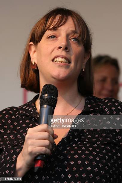 Labour Party MP Jess Phillips speaks on stage in Parliament Square in central London on October 19 during a rally by the People's Vote organisation...