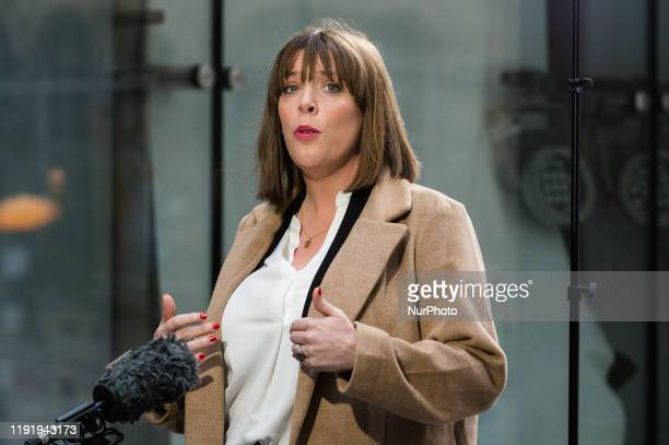 Labour Party MP Jess Phillips speaks to the media outside the BBC Broadcasting House in central London after appearing on The Andrew Marr Show on 05...