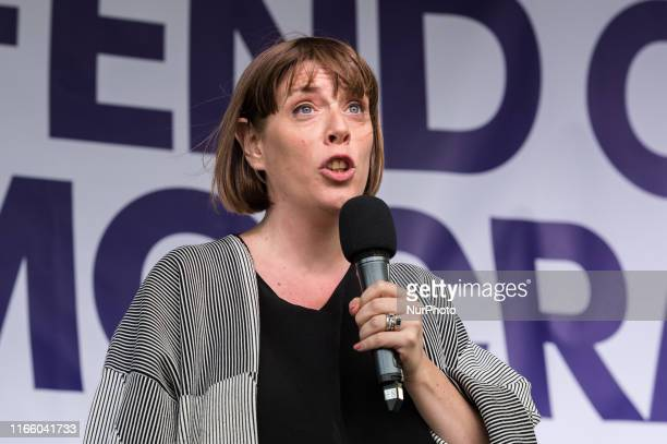 Labour Party MP Jess Phillips speaks to thousands of proEU demonstrators gathered for a crossparty rally in Parliament Square organised by the...