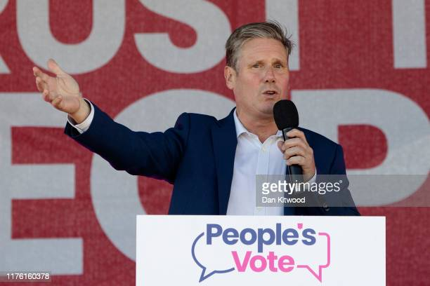 Labour Party MP Keir Starmer speaks at The People's march ahead of the 2019 Labour Party Conference on September 19 2019 in Brighton England Labour...