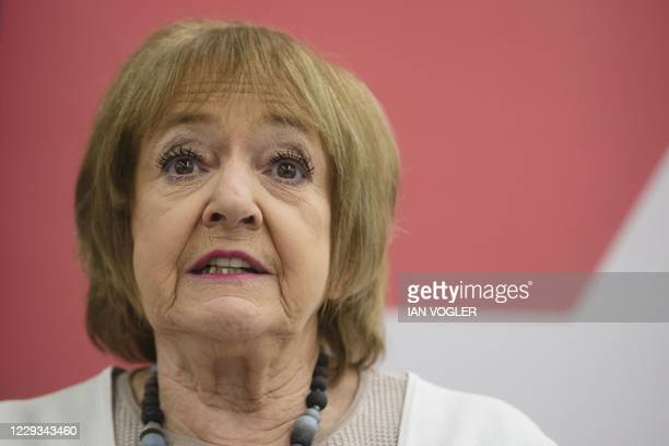Labour Party MP Margaret Hodge speaks during a press conference of the Jewish Labour Movement at the offices of law firm Mishcon de Reya in London on...