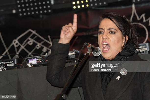 Labour Party MP Naz Shah speaks to thousands of people gathered at Stop Trump Rally at Parliament Square on February 20 2017 in London England The...