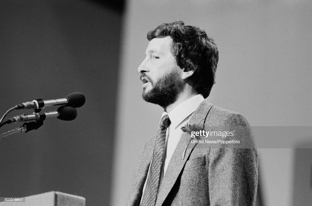 Labour Party politician and leader of Sheffield City Council, David Blunkett pictured making a speech from the platform at the Labour Party conference in Bournemouth, England in October 1985.