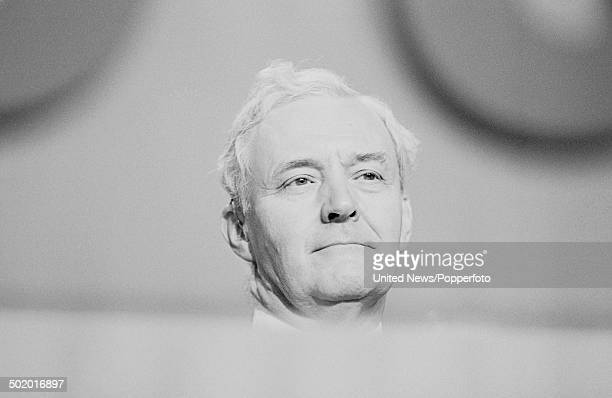 Labour Party politician and Member of Parliament for Chesterfield Tony Benn pictured on the platform at the Labour Party conference in Bournemouth...