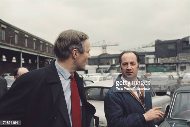 Labour Party politician and MP Tony Benn pictured left with Scottish Labour Party politician and MP for Glasgow Gorbals Frank McElhone at Clydebank...