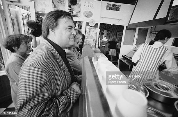 Labour Party politician John Prescott stops for fish and chips during a visit to Cleethorpes August 1996