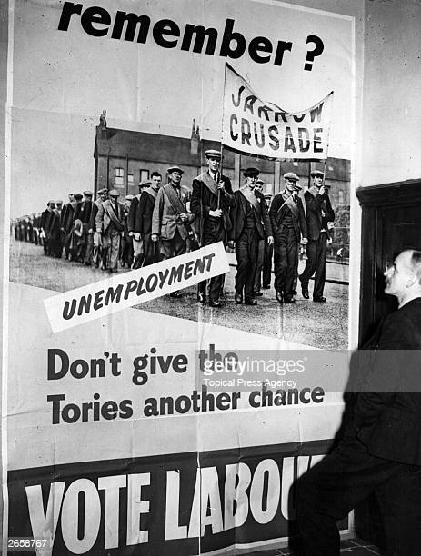 Labour Party poster for the general election, depicting the Jarrow Crusade.