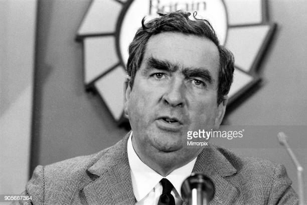 Labour Party Press Conference held at Transport House Denis Healey Chancellor of the Exchequer 4th October 1974