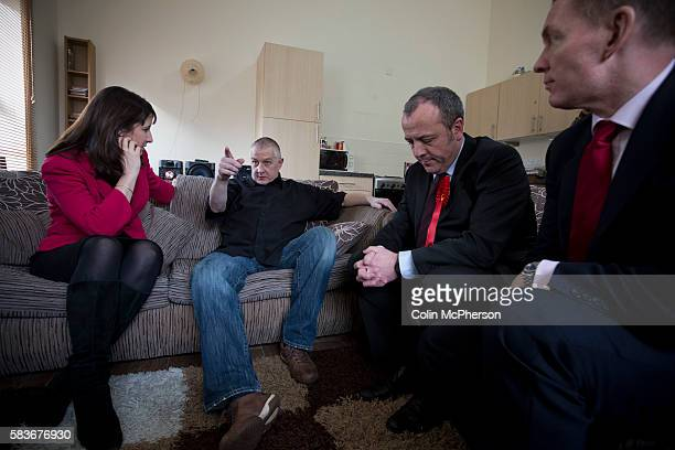 Labour Party shadow cabinet members Rachel Reeves and Chris Bryant pictured on a visit to the home in Sale of Anthony Cunning during campaigning in...
