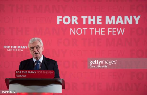 Labour Party Shadow Chancellor John McDonnell whilst delivering a prespring statement on March 9 2018 in London England The government will respond...