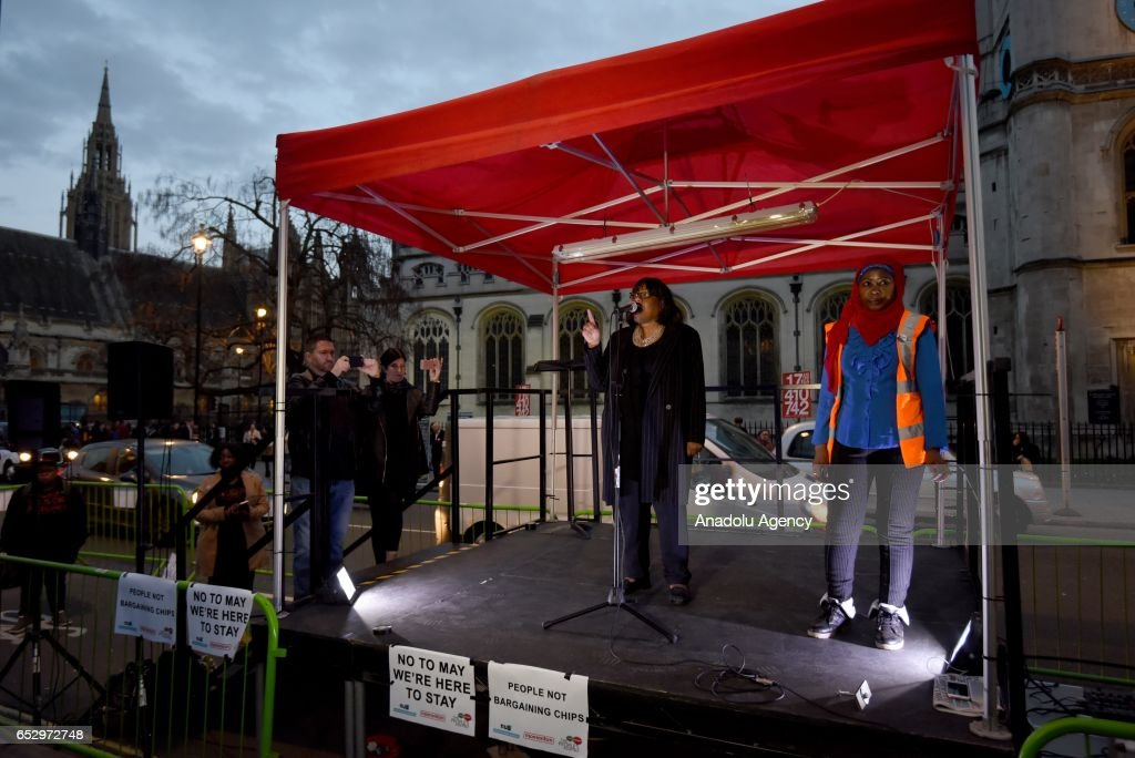 Labour Party Shadow Home Secretary, Diane Abbott delivers a speech as demonstrators gather in Parliament Square to support guaranteed legal status for EU citizens in London, United Kingdom on March 13, 2017.