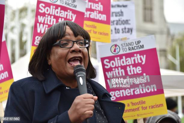 Labour Party Shadow Home Secretary Diane Abbott speaks at a Stand Up To Racism Windrush Amnesty Demo at Parliament Square on April 30 2018 in London...