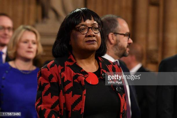 Labour Party Shadow Home Sedretary Diane Abbott walks through the Central Lobby back to the House of Commons after the Queen's Speech during the...