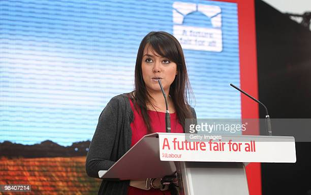 Labour Party supporter Ellie Gellard introduces Prime Minister Gordon Brown as he launches his election manifesto at The Queen Elizabeth Hospital on...