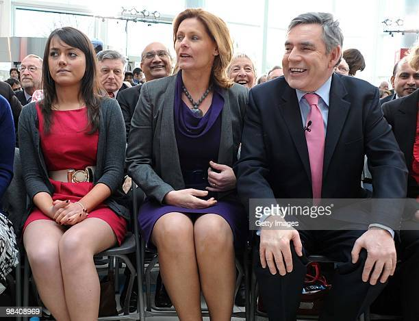 Labour Party supporter Ellie Gellard sits beside Prime Minister Gordon Brown and his wife Sarah during the launch of the Labour election manifesto at...