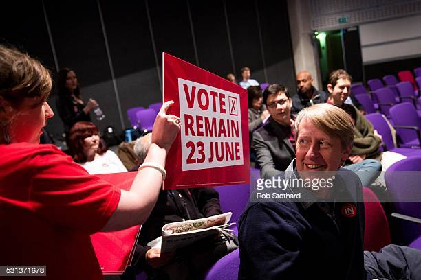 Labour Party supporters are handed placards ahead of a Rally to Remain event at The Fleming Room in the QE2 centre on May 14 2016 in London England...