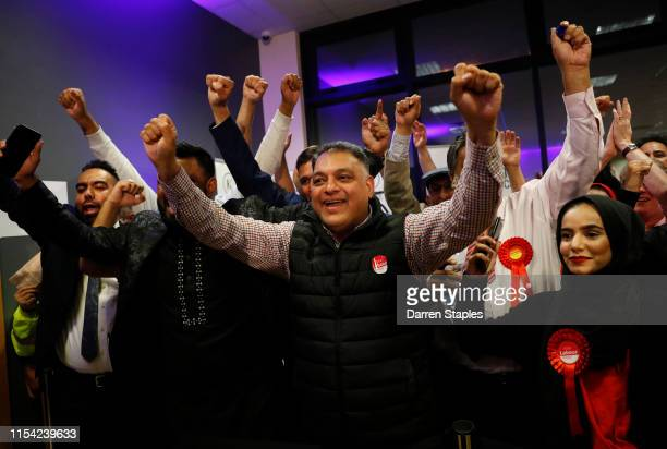 Labour Party supporters celebrate after victory for their candidate Lisa Forbes at the byelection count centre on June 07 2019 in Peterborough...
