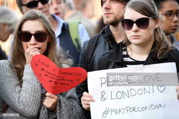 Labour party supporters hold up messages for the victims of the London terrorist attacks at the County Hotel on June 4 2017 in Carlisle England...