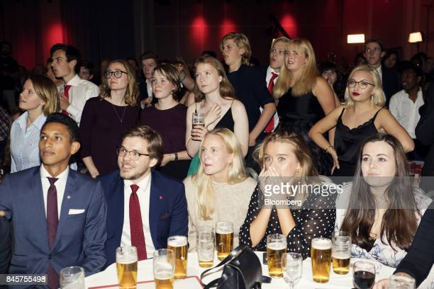 Labour Party supporters react following the parliamentary vote in Oslo Norway on Monday Sept 11 2017 Norwegians started voting in what could be the...