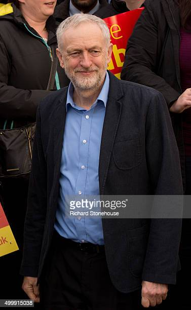 Labour Pary leader Jeremy Corbyn smiles outside the Chadderton Town Hall after Labour candidate Jim McMahon won the Oldham West and Royton byelection...