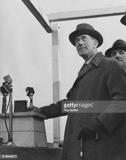 Labour politician Alfred Barnes the Minister of Transport opens the first aluminium alloy bascule bridge in the word at the Port of Sunderland UK...