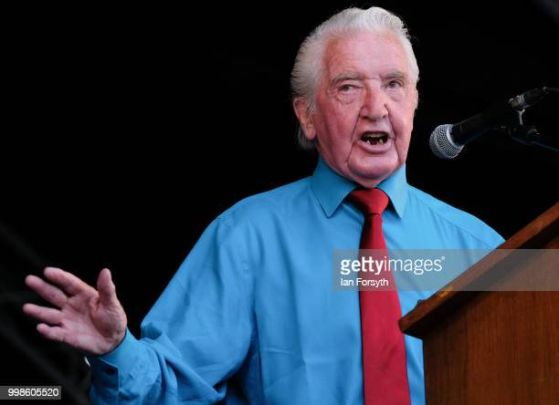 Labour politician and Member of Parliament for Bolsover Dennis Skinner delivers his speech during the 134th Durham Miners' Gala on July 14 2018 in...