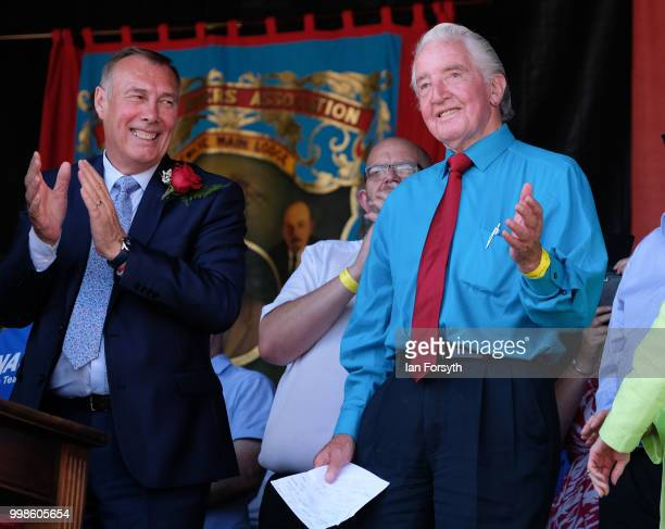Labour politician and Member of Parliament for Bolsover Dennis Skinner is introduced to the crowds ahead of his speech during the 134th Durham...
