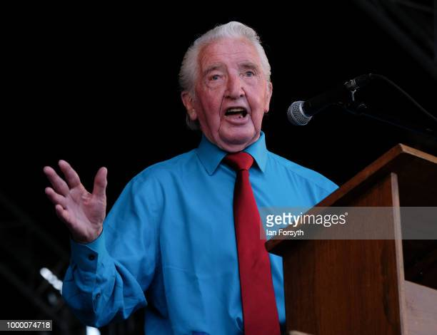 Labour politician and Member of Parliament for Bolsover Dennis Skinner during the 134th Durham Miners' Gala on July 14 2018 in Durham England Over...