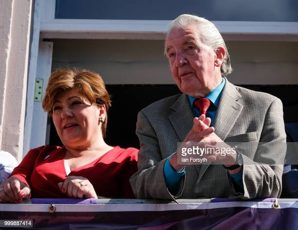 Labour politician and Member of Parliament for Bolsover Dennis Skinner stands with Labour politician and Member of Parliament for Islington South and...